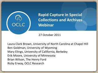 Rapid Capture in Special Collections and Archives Webinar