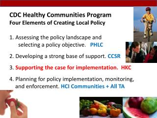 CDC Healthy Communities Program Four Elements of Creating Local Policy