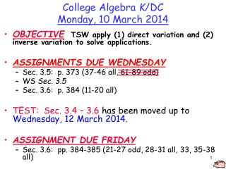 College Algebra  K /DC Monday,  10  March  2014