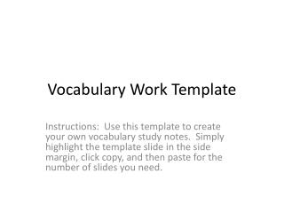 Vocabulary Work Template