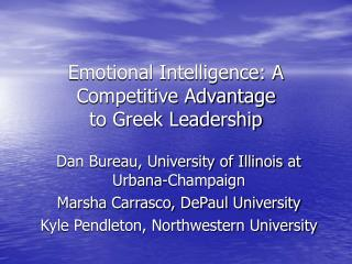 Emotional Intelligence: A Competitive Advantage  to Greek Leadership