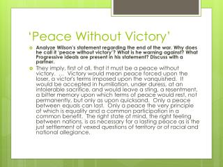 'Peace Without Victory'
