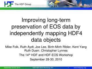 Improving long-term preservation of EOS data by independently mapping HDF4 data objects