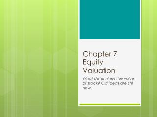 Chapter 7 Equity Valuation