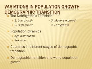 Variations in Population  Growth Demographic  Transition