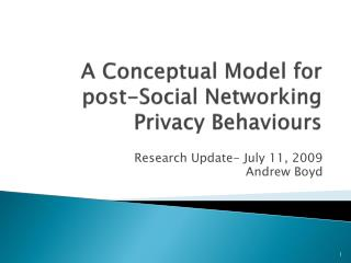 A Conceptual Model for post-Social Networking Privacy Behaviours