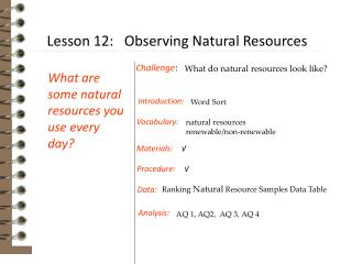 natural resources renewable/non-renewable