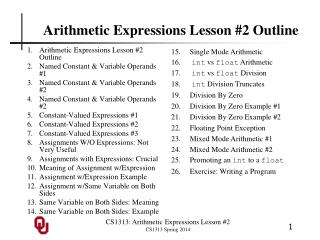 Arithmetic Expressions Lesson #2 Outline