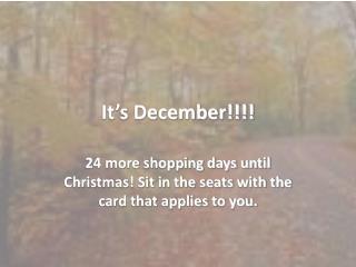 It's December!!!!