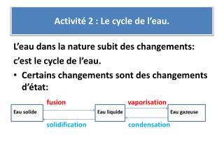 Activité  2 : Le cycle de l'eau.