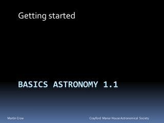 Basics Astronomy 1.1