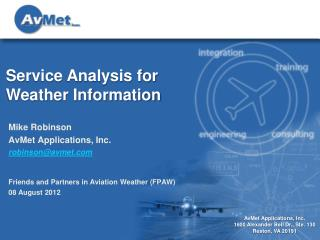 Service Analysis for Weather Information