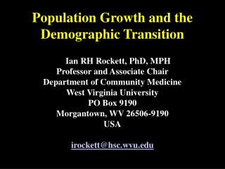 Population Growth and the Demographic Transition