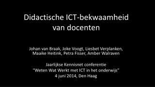 Didactische  ICT- bekwaamheid  van  docenten
