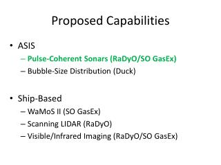 Proposed Capabilities