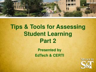 Tips & Tools for Assessing Student Learning Part 2