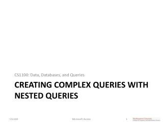 Creating Complex Queries with Nested queries