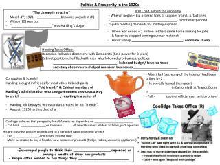 Politics & Prosperity in the 1920s