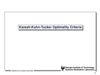Karesh-Kuhn-Tucker Optimality Criteria