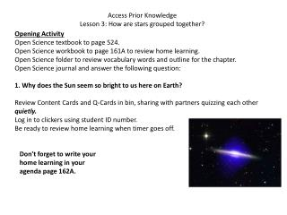 Access Prior Knowledge Lesson 3: How are stars grouped together?