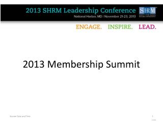 2013 Membership Summit