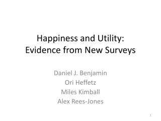 Happiness and Utility: Evidence from New Surveys