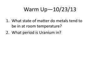 Warm Up—10/23/13