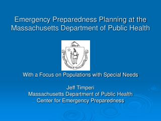 Emergency Preparedness Planning at the Massachusetts Department of Public Health