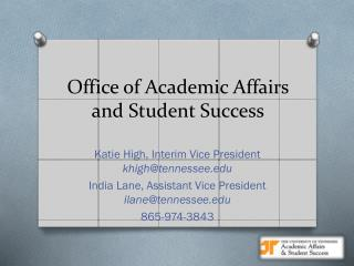 Office of Academic Affairs  and Student Success