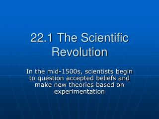 22.1 The Scientific Revolution