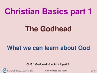 Christian Basics part 1