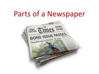 Parts of a Newspaper