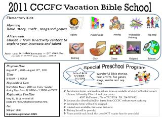 Program Date August  8 th  ,  2011– August 12 th  , 2011 Time 8:45AM – 5  :00PM Registration  Date