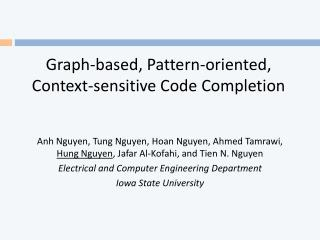 Graph-based, Pattern-oriented, Context-sensitive Code Completion