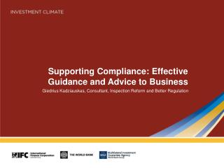 Supporting Compliance: Effective Guidance and Advice to Business