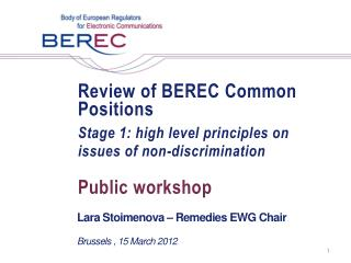 Review of BEREC Common Positions Stage 1: high level principles on issues of non-discrimination