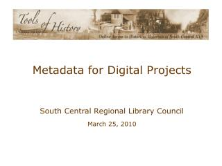 Metadata for Digital Projects
