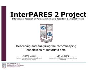 Describing and analyzing the recordkeeping capabilities of metadata sets
