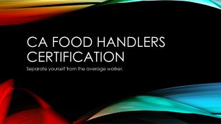 CA Food handlers certification