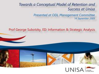 Towards a Conceptual Model of Retention and Success  at Unisa