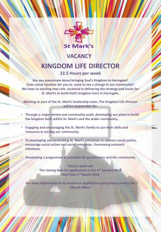 KINGDOM LIFE DIRECTOR 22.5 Hours per week
