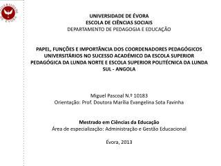 UNIVERSIDADE DE ÉVORA ESCOLA DE CIÊNCIAS SOCIAIS DEPARTAMENTO DE PEDAGOGIA E EDUCAÇÃO