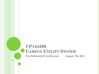 CP144260 Campus Utility System