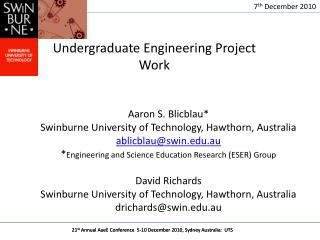Undergraduate Engineering Project Work