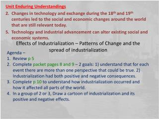 Effects of Industrialization – Patterns of Change and the spread of industrialization