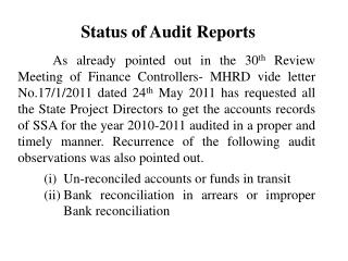 Status of Audit Reports
