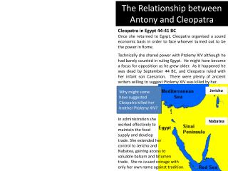 The Relationship between Antony and Cleopatra