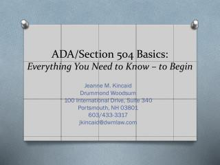 ADA/Section 504 Basics: Everything You Need to Know  –  to Begin