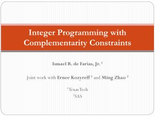 Integer Programming with Complementarity Constraints