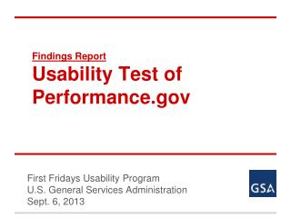 Findings Report Usability Test of Performance